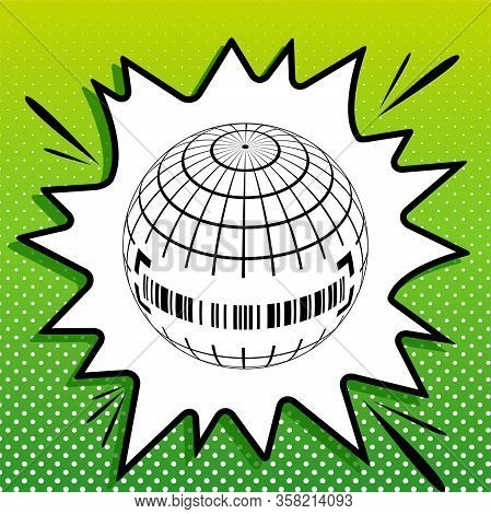 Global Economy Sign. Black Icon On White Popart Splash At Green Background With White Spots. Illustr
