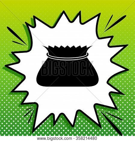 Tied Pouch Bag Sign. Black Icon On White Popart Splash At Green Background With White Spots. Illustr