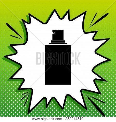 Spray Sign. Black Icon On White Popart Splash At Green Background With White Spots. Illustration.