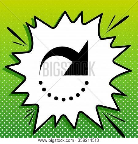 Refresh Motion Arrow Sign. Black Icon On White Popart Splash At Green Background With White Spots. I