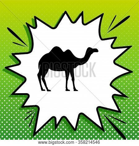 Camel Silhouette Sign. Black Icon On White Popart Splash At Green Background With White Spots. Illus