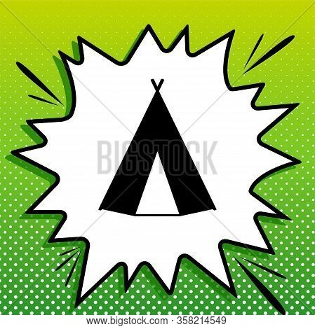 Wigwam Sign. Black Icon On White Popart Splash At Green Background With White Spots. Illustration.