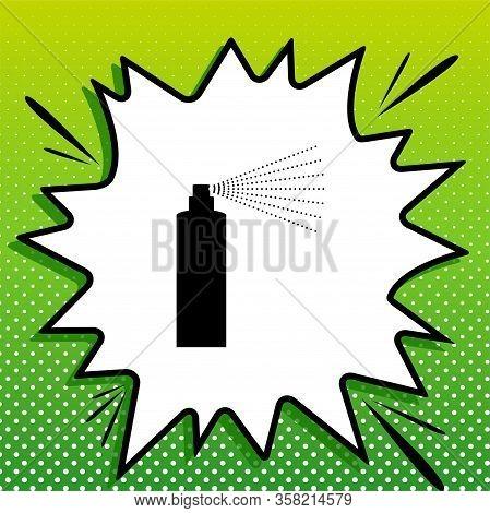 Bottle Spray Sign. Black Icon On White Popart Splash At Green Background With White Spots. Illustrat