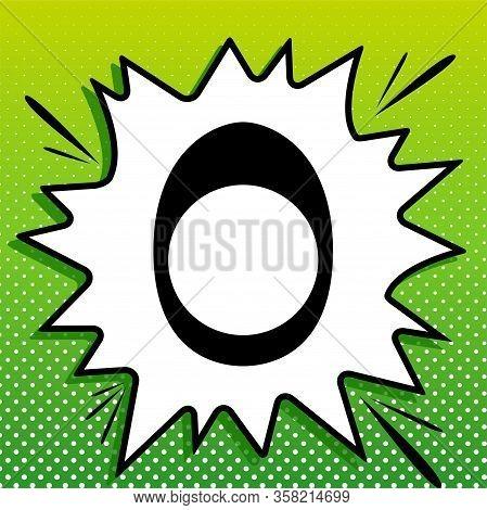 Egg With Yolk. Black Icon On White Popart Splash At Green Background With White Spots. Illustration.