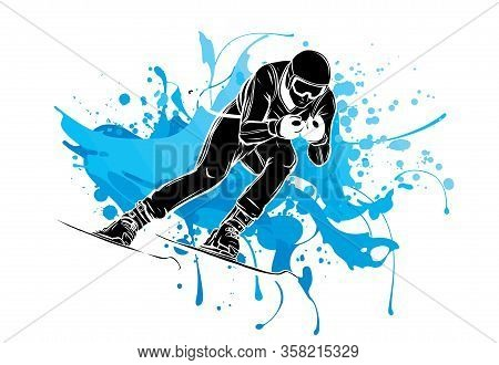 People Skiing Flat Style Design. Skis Isolated, Skier And Snow, Cross Country Skiing, Winter Sport,