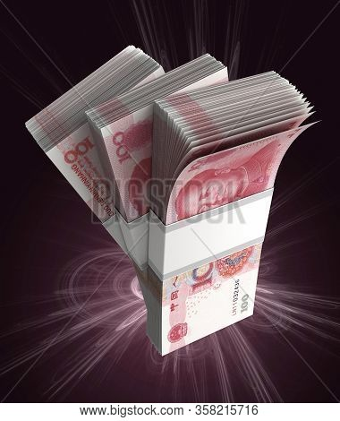 Stack Of Chinese Yuan (isolated With Clipping Path) 3d Rendering