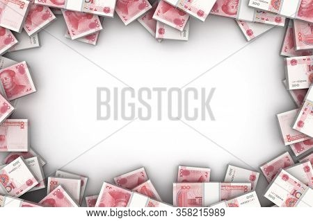 Frame With Chinese Yuan (isolated On White Background) 3d Rendering
