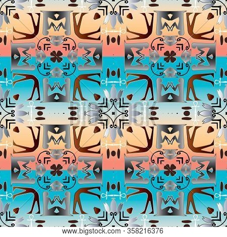 Egyptian Hieroglyphs Seamless Pattern. Colorful Background. Vector Graphic Illustration. Ancient Hie