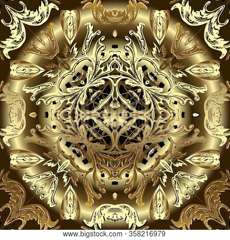 Gold Baroque 3d Vector Seamless Pattern. Royal Ornamental Surface Background. Beautiful Ornate Repea