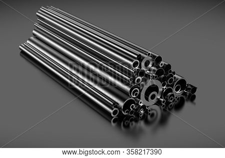 Stainless Steel Tubes On Gray Background 3d Rendering