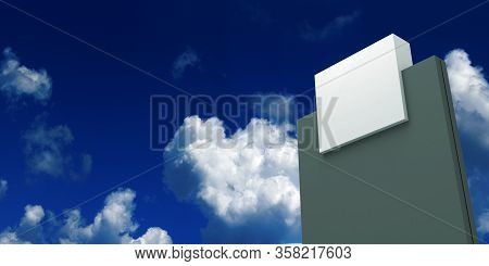 Outdoor Sign Tower And Blue Sky 3d Rendering