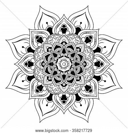 Circle Flower Of Mandala With Vintage Floral Style, Vector Mandala Oriental Pattern, Hand Drawn Deco