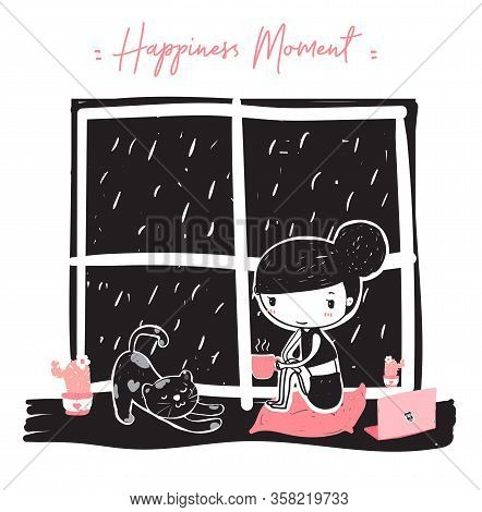 Cute Doodle A Girl Holding A Pink Coffee Cup Sitting Near Window On Raining Night With Lazy Cat, Wor