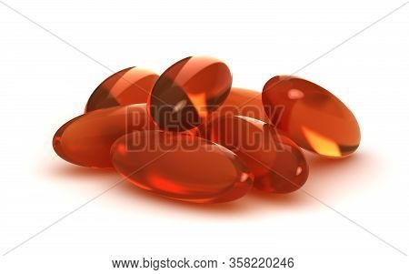 A Handful Of Pills On White Background