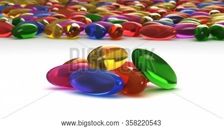 Stack Of Pills On White Background (computer Generated Image) 3d Rendering