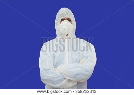 Confident Epidemiologist In Hazmat Suit With Medical Face Mask - Concept To Fight Covid-19 Or Corona