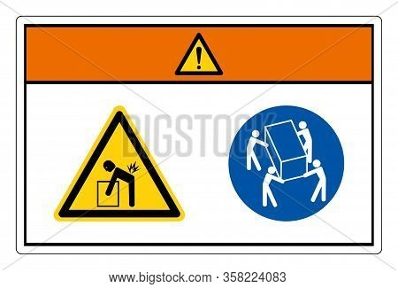 Warning Lift Hazard Use Four Person Lift Symbol Sign, Vector Illustration, Isolate On White Backgrou
