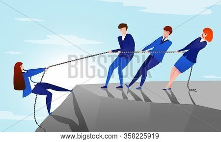 Colleagues Pull Rope. Teamwork Concept With Cartoon Office Workers Helping To Reach The Top Of The M