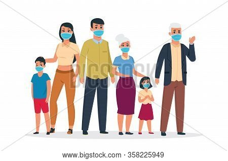 Family Virus. Cartoon Old And Young Characters Wearing Medical Respirator Masks For Coronavirus And