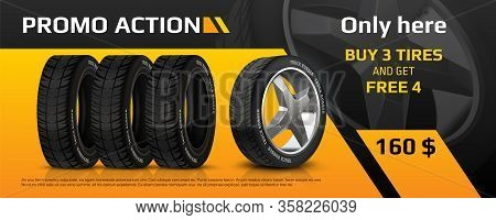 Realistic Tire Banner. Car Wheel Repair And Auto Rubber Advertising Flyer, Automobile Information Br