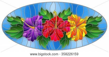 Illustration In Stained Glass Style With Flowers And Leaves  Of Hibiscus On A Blue Background, Oval