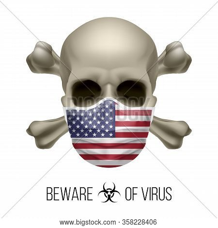 Human Skull With Crossbones And Surgical Mask In The Color Of National Flag Usa. Medical Mask In For