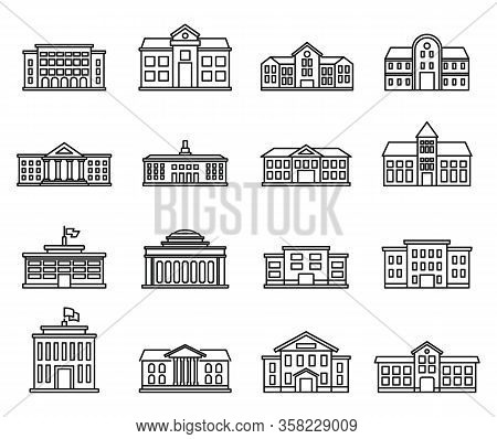 University Campus Icons Set. Outline Set Of University Campus Vector Icons For Web Design Isolated O
