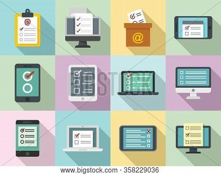Online Survey Icons Set. Flat Set Of Online Survey Vector Icons For Web Design