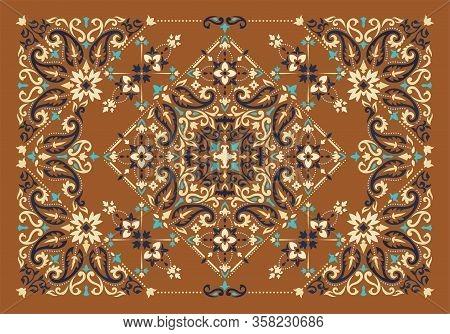 Rectangular Ornamental Bandana Print Vector Design For Rug, Carpet, Tapis, Shawl, Towel, Textile, Yo