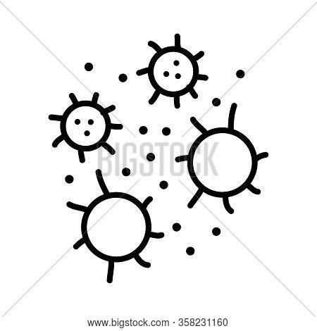 Flue Virus Cell With Modern Flat Line Icon Style Vector