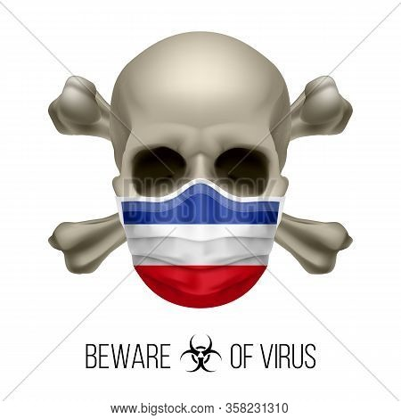 Human Skull And Surgical Mask In The Color Of National Flag Yugoslavia. Mask In Form Of The Yugoslav