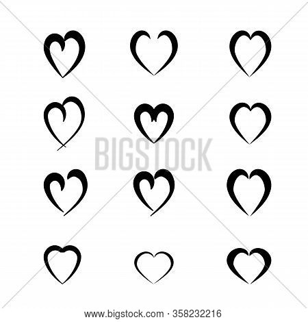 Heart Black Set On White Background Sign. Symbol Love. Template For T Shirt, Apparel, Card, Poster,