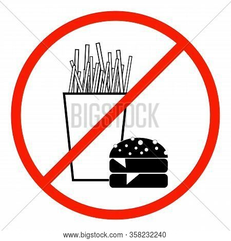 No Fastfood Icon. Silhouette Hamburger Drink In Red Circle. Sign No Meal On White Background. Label