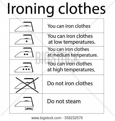 Clothing Care. You Can Iron Clothes. Label For Information Instruction. Warning Oh Safe Ironing Garm