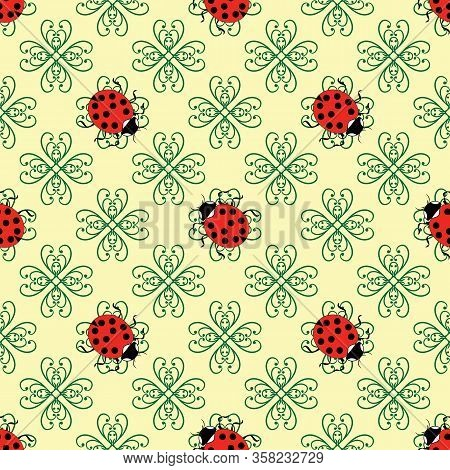 Ladybug On Flower Abstract Seamless. Fashion Graphic Background Design. Modern Stylish Abstract Text