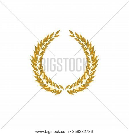 Laurel Wreath Gold Reward. Modern Symbol Of Victory And Award Achievement Champion. Leaf Ceremony Aw