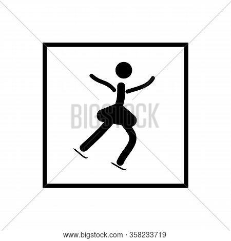 Sports. Single Figure Skating Women. Women Silhouette Skate. Logo Sports Dance On Ice. Monochrome Te