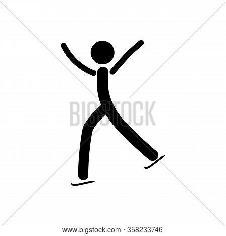 Sports. Single Figure Skating Men. The Male Silhouette Skate. Logo Professional Sports Dance On Ice.