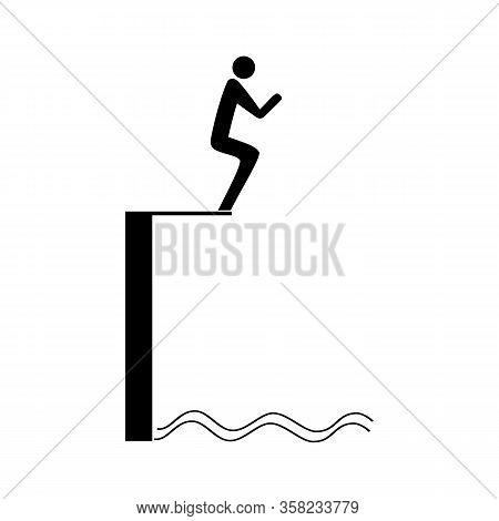 Sports. Sign Of A Place For Jumping In The Pool At A Competition. Safe Dive. Safety Sign At Internat