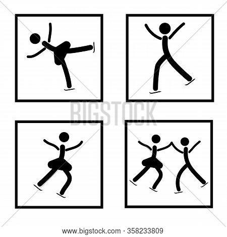 Sports. Figure Skating Set Icon. Silhouette Figures Skate. Logo Professional Sports Dance On Ice. Mo