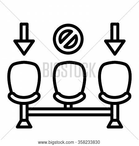 Physical Distancing Or Social Distance Icon Chair Distance With Modern Flat Line Icon Style Vector
