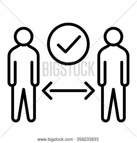 Social Distance Or Physical Distancing Icon With Modern Flat Line Icon Style Vector