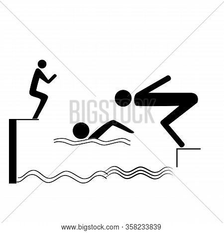 Sports. Place For Jumping In Water. Safety Dive. Sign Safeness On Pool, Beach, In River, Sea. Warnin