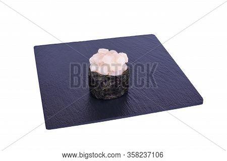 Traditional Fresh Japanese Sushi On Black Stone Gunkan Izumidai On A White Background. Gunkan Ingred