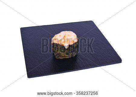 Traditional Fresh Japanese Sushi On Black Stone Gunkan Kaji Shake On A White Background. Gunkan Ingr