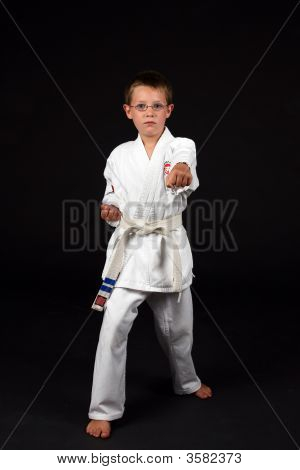 Traditional Karate Boy In A Right Stance With His Left Fist Out