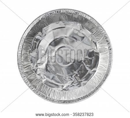 Foil Tray Pizza Packaging Disposable (with Clipping Path) Isolated On White Background