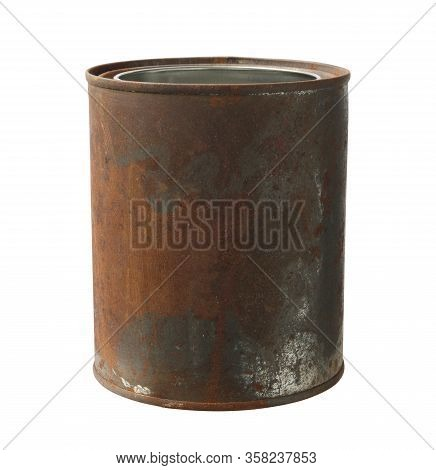 Rusty Can Opened (with Clipping Path) Isolated On White Background