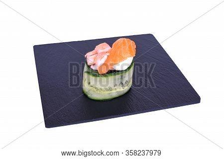 Traditional Fresh Japanese Sushi On Black Stone Gunkan Ebi Shake On A White Background. Gunkan Ingre