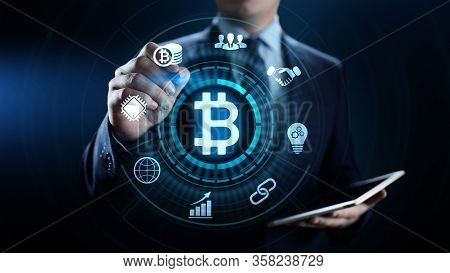 Bitcoin Cryptocurrency Digital Money Finance Business Technology Concept.